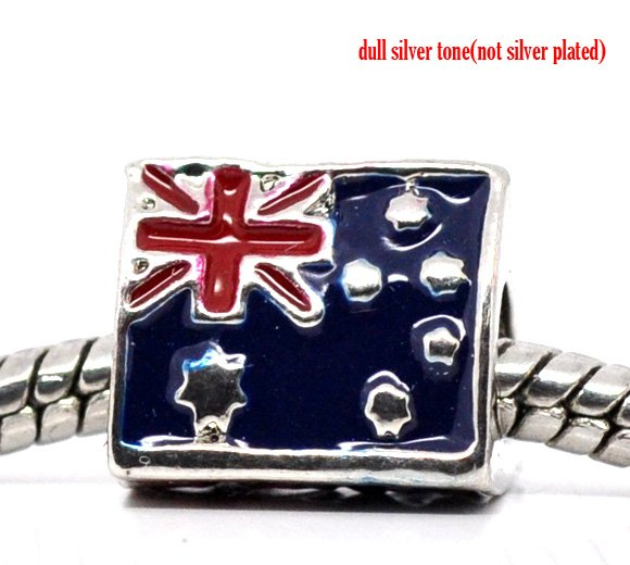 Silver Tone Enamle Triangle Australia Flag Charm Beads. Fit Charm Bracelet 11x10mm, sold per packet of 10