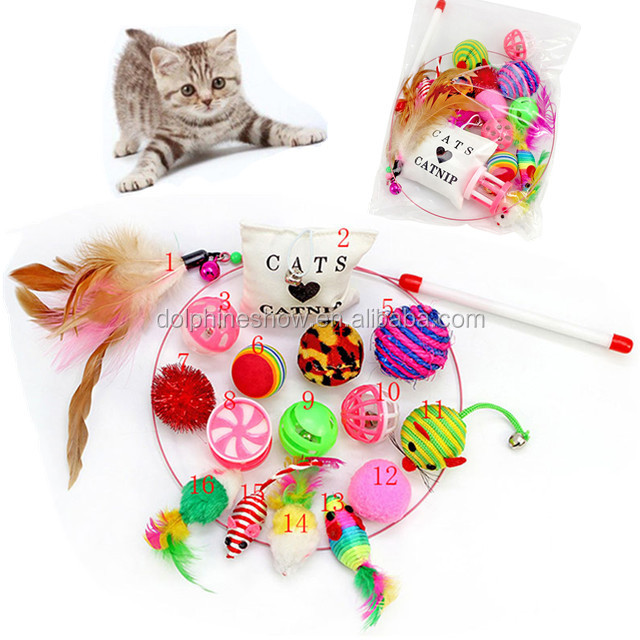 Interactive Cat Toys Variety Pack Feather Wand Catnip Mouse Balls etc 16 Pack toys For Cat