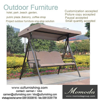 outsunny outdoor 3 person patio daybed canopy gazebo swing tan with mesh walls