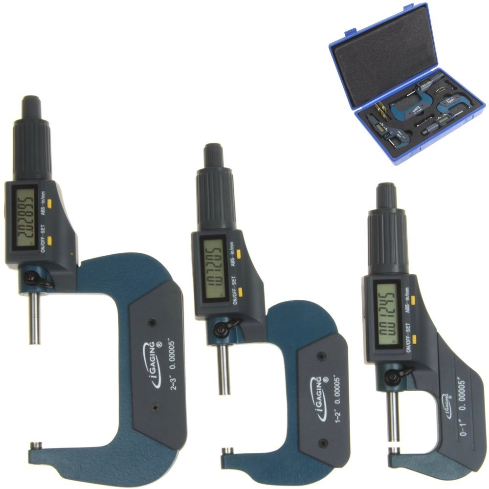 iGaging Digital Electronic Micrometer 0-1//0.00005 and Caliper 0-6//0.0005 Set Machinist Inspection Tool Kit