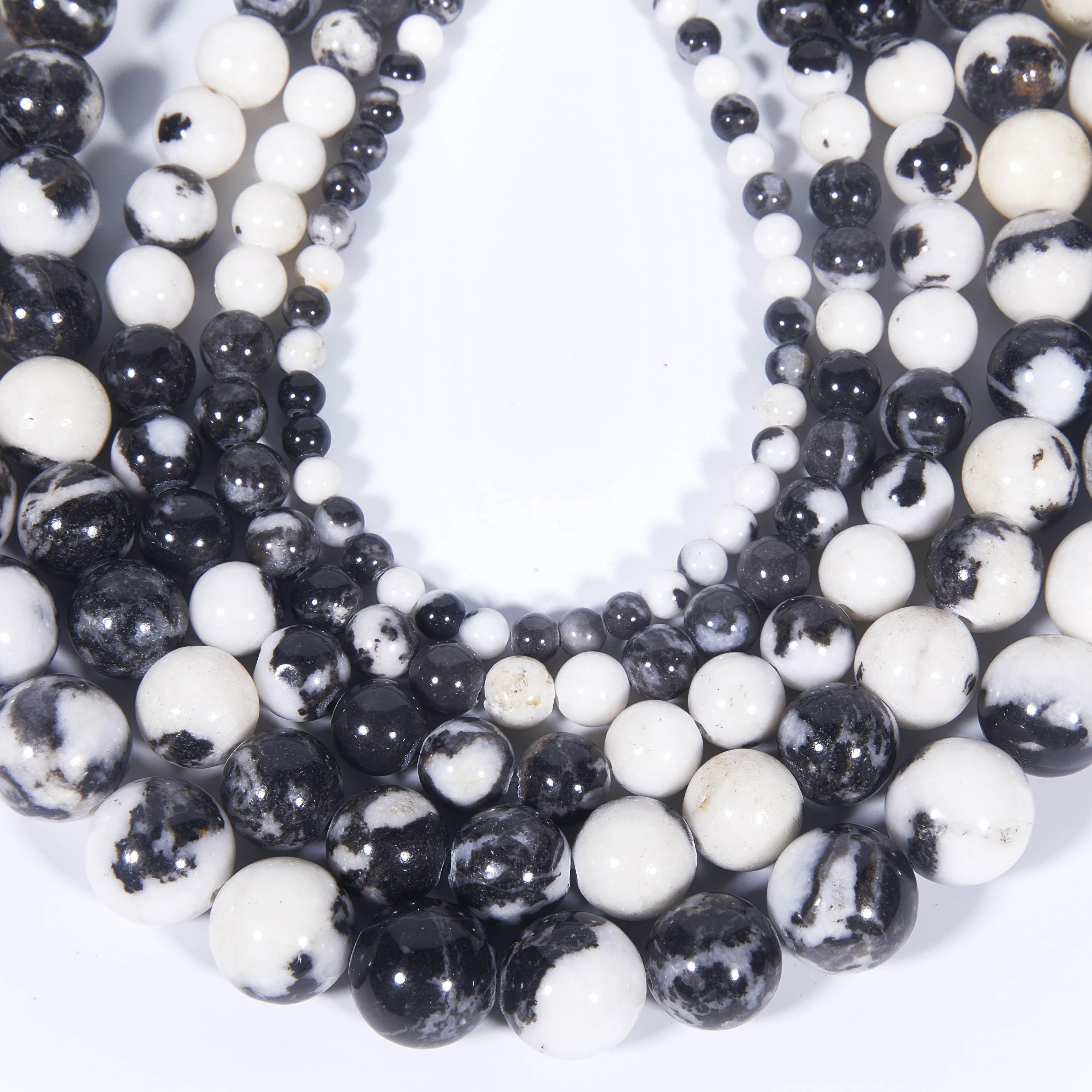 f1bbb3e86565 Venta al por mayor negro Natural blanco Zebra Jasper piedras preciosas  ronda abalorios sueltos energía piedra