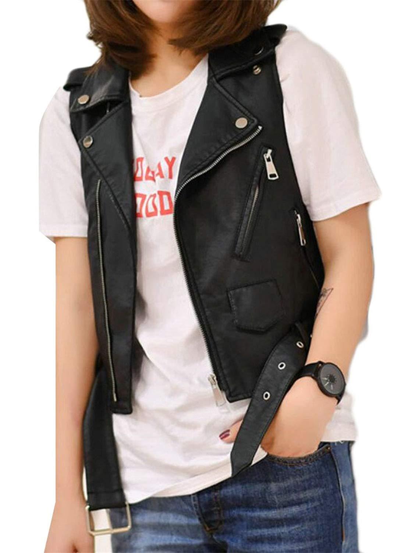 d2a670920e Get Quotations · Gocgt Women PU Leather Sleeveless Biker Fuax Vest