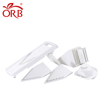 Free sample 5 pieces V shape blades white professional slicer vegetable cutter japanese mandoline slicer with protection insert