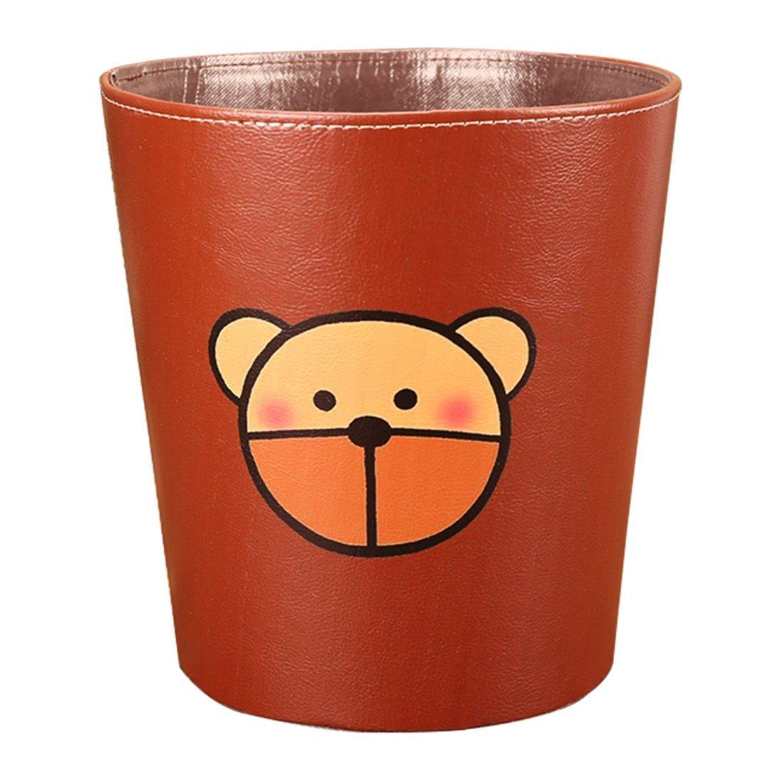 XSHION Bedroom Trash Can, Waste Paper Basket/Garbage Bin Kitchen witout Lid/Open Wastebasket PU Leather Recycle Bin 3.6 Gal