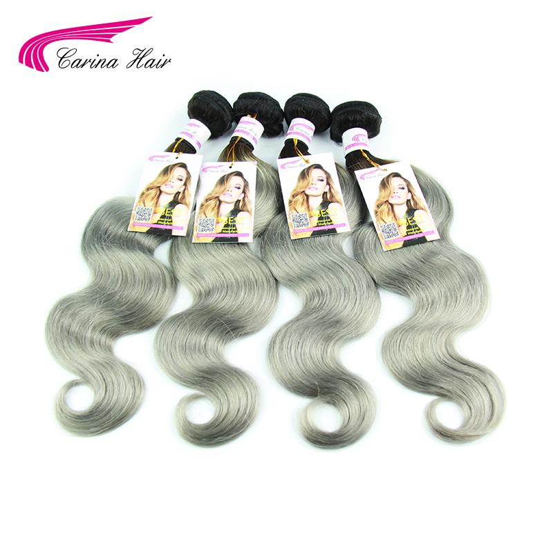 Fashion Trends 4pcs Dark Roots Silver Grey Ombre Brazilian Virgin Hair Body Wave 1B Grey 100% Human Remy Hair Weaving Extension