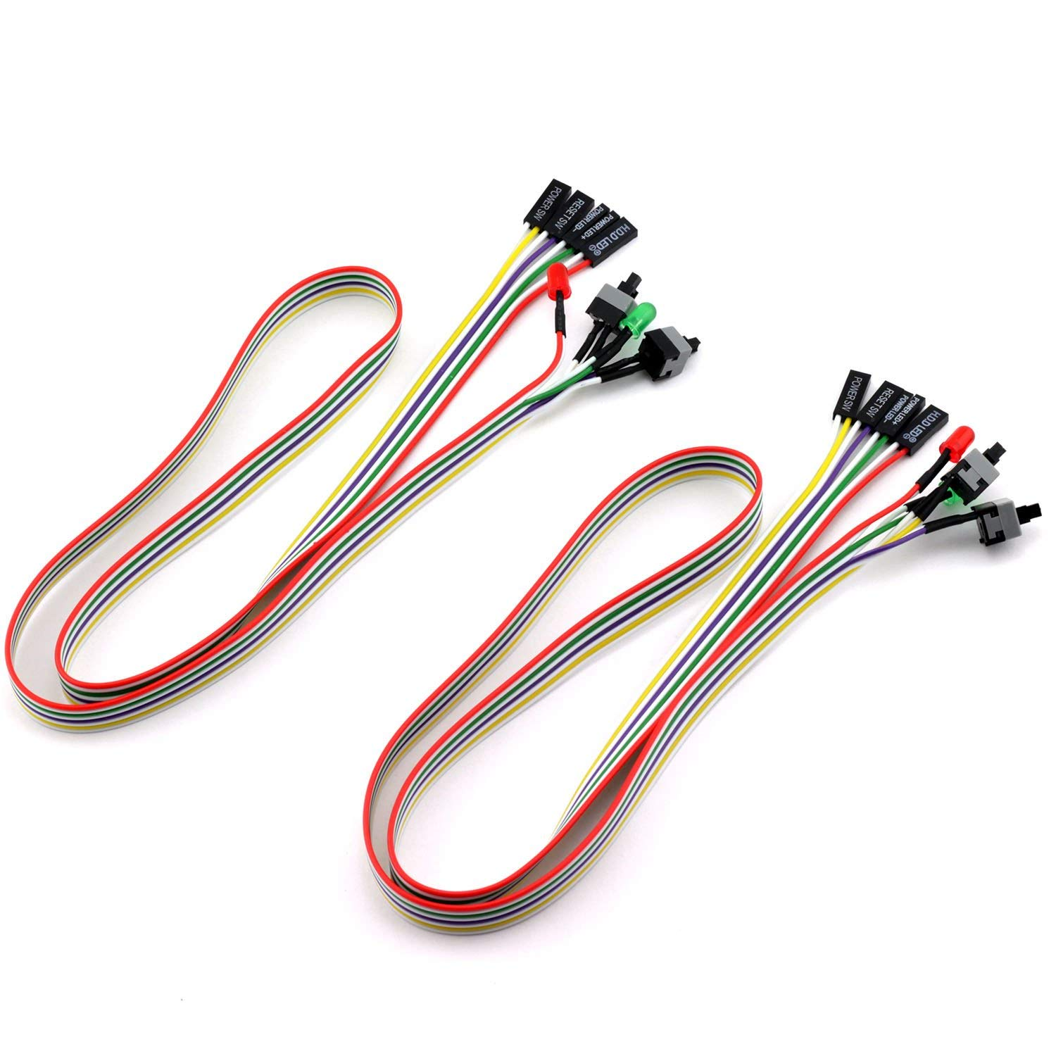 ToToT 2pcs PC Power Switch Cable with LED Light ATX Case Front Power Button PC Power Cable SW Re-starting Switch Desktop Computer Power Supply Reset HDD Switch Lead