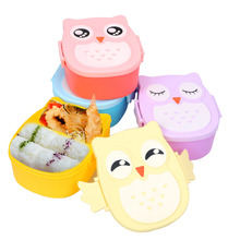 Cartoon Uil Voedsel Container picknick Opbergdozen Draagbare Bento Box optioneel <span class=keywords><strong>Student</strong></span> <span class=keywords><strong>lunchbox</strong></span>