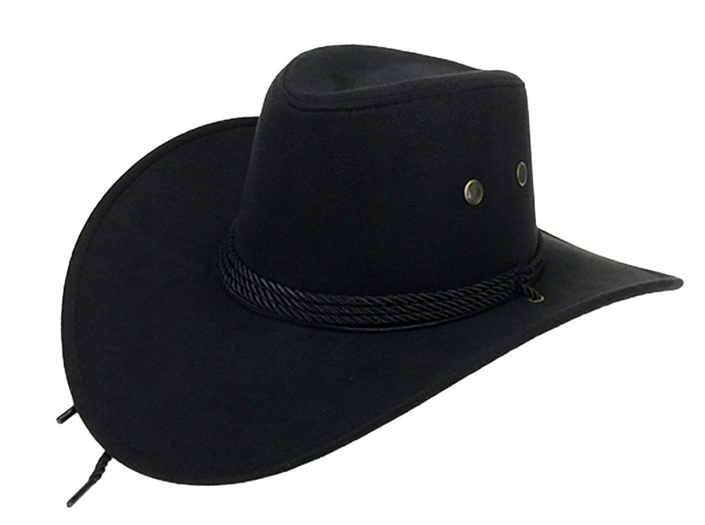 UwantC Mens Faux Felt Western Cowboy Hat Fedora Outdoor Wide Brim Hat with  Strap e966234e8513