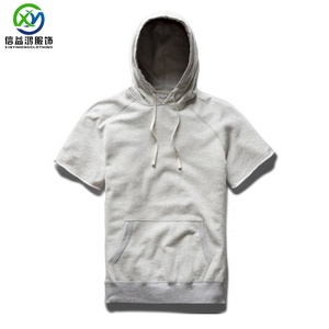 New design 100% pima cotton blank t-shirt with hooded winter t shirt for man