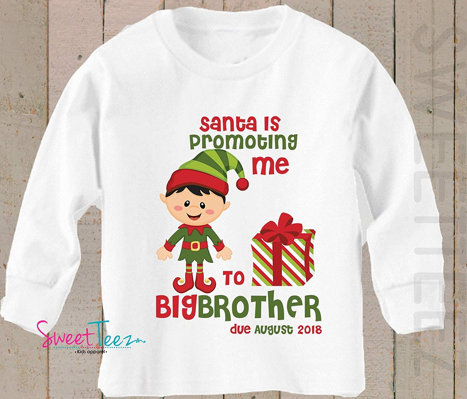 c1acbb1bf270 Get Quotations · Big Brother Shirt Santa is Promoting me to Big Brother  Shirt Long Sleeve Christmas Pregnancy Announcement