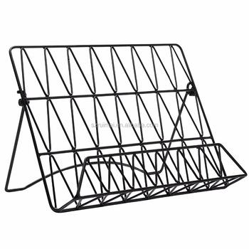 Modern Countertop Black Metal Cookbook Stand Book Display Rack