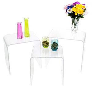 lucite End Coffee Side Accent Tables 3pcs Clear Acrylic Nesting Table Set