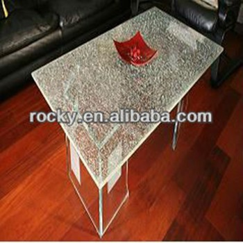 Qingdao Rocky High Quality 3mm 19mm Broken Tempered Glass Cracked Glass  Table