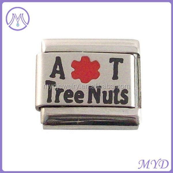 Allergic to Tree Nuts Stainless Steel 9mm Medical Alert Italian Charm link Bracelet