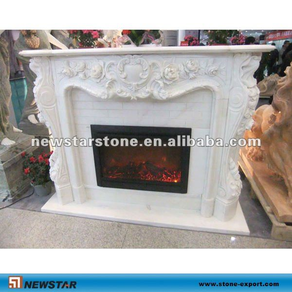 white marble electric fireplace