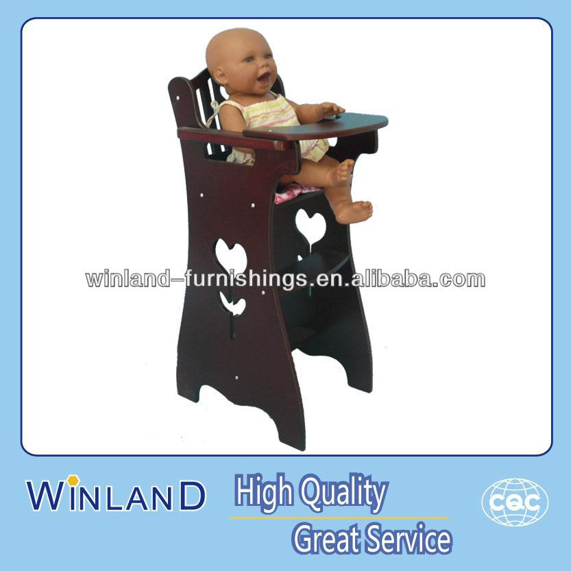 Wooden Baby Doll Furniture Brown Color High Chair