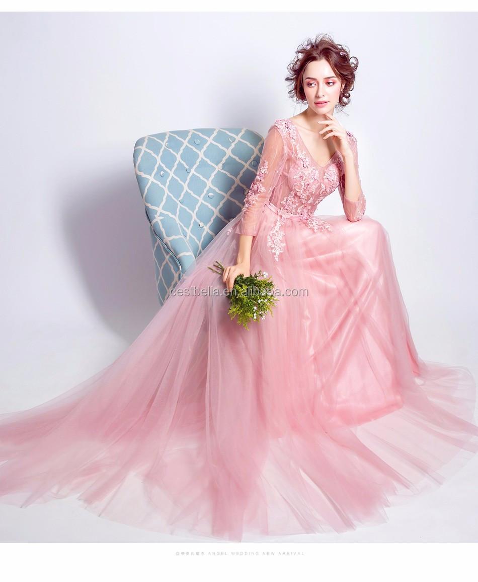 2018 Estilo Europeo Vestidos Mujer Elegante Manga Larga Rosa Claro ...