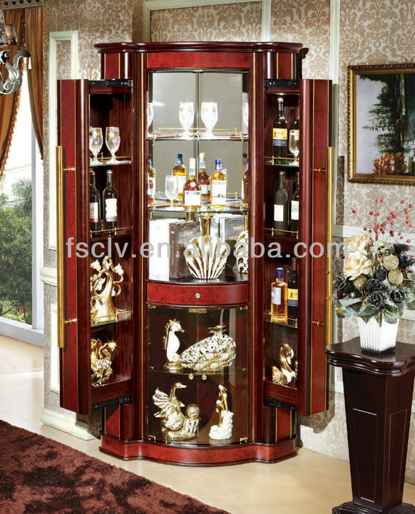 salon meubles boutique style en bois massif verre vitrine pour l 39 alcool avec miroir arri re. Black Bedroom Furniture Sets. Home Design Ideas