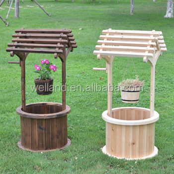 Wooden Wishing Well Planter Backyard Garden Barrel Planters