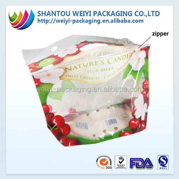 Customized plastic Fruit protection Packaging Bag for grape/cherry/fruit