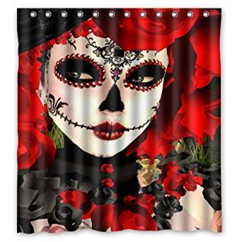 66(W)x72(H)-Inch Dia De Los Muertos Suger Skull New Waterproof Polyester Curtain (Shower Rings Included)