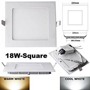 4x Square LED Recessed Light Panel Lamp Ceiling Lights with LED Driver 18W warm white AC100-260V