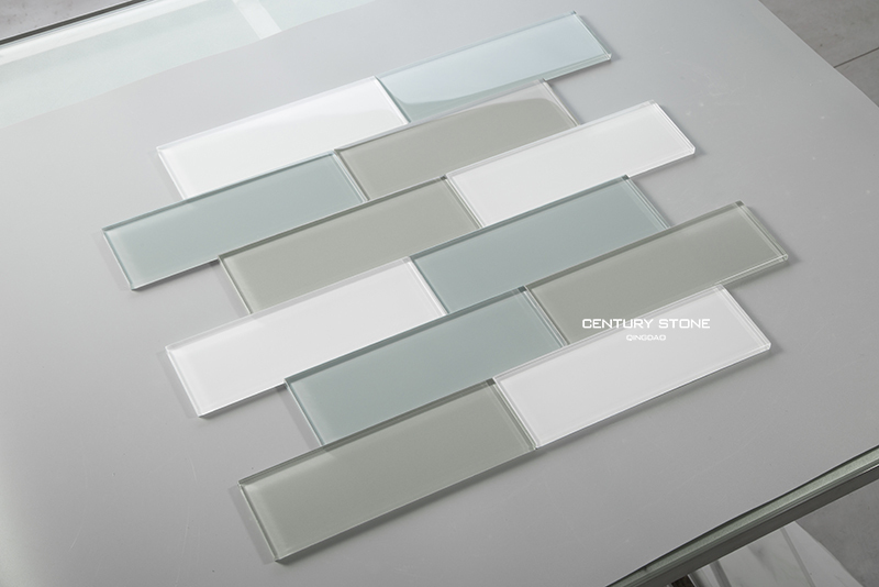 3x8 pollici blu grigio e bianco piastrelle di vetro di cristallo per
