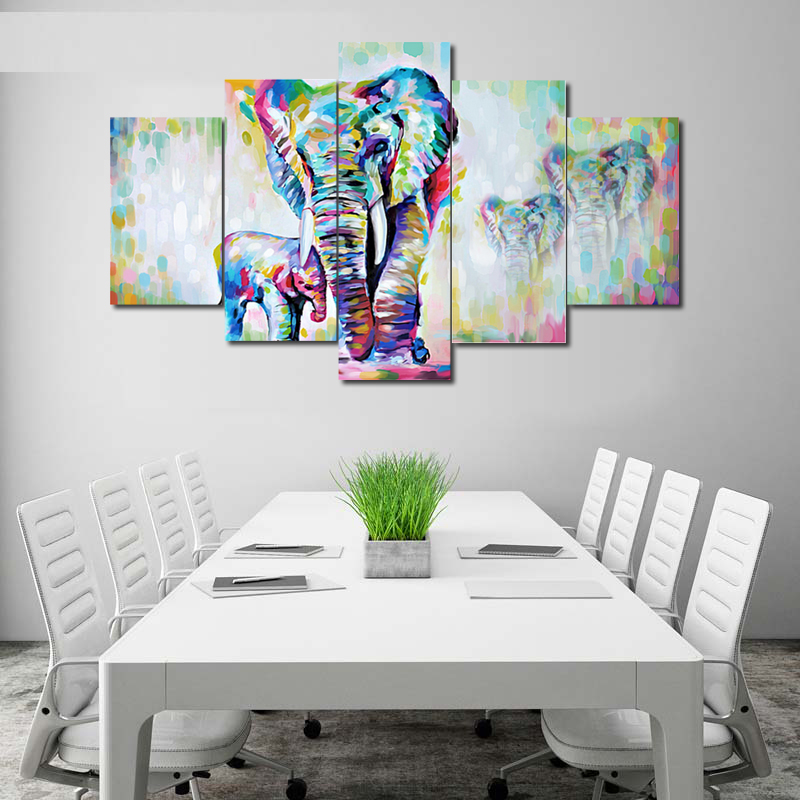 Abstract Acrylic Art Painting Abstract Elephant 5 Pieces Hd Inkjet Painting On Canvas Wall Art Oil Paintings Home Decoration Buy Abstract Elephant 5