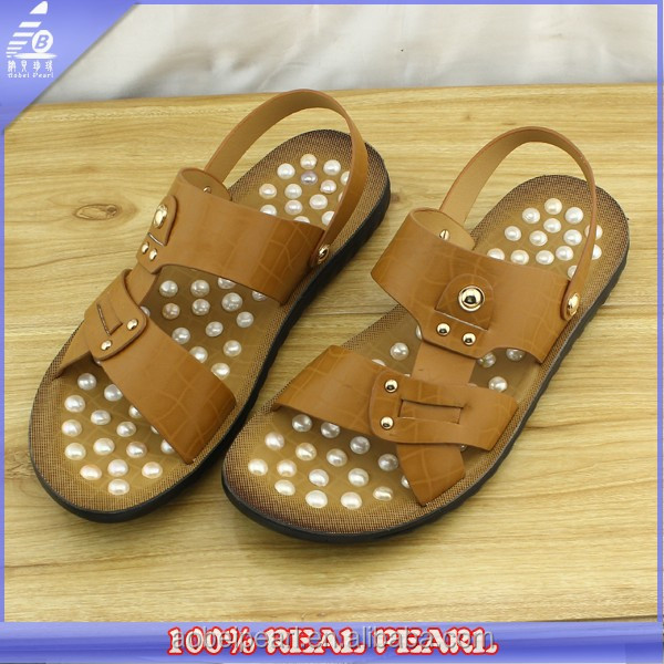 New Mens Sandals Pearl Freshwater Leather 2016 Genuine Shoes Men's With Handmade Style Leather dzwqx40