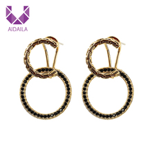 AIDAILA Pave Diamond Retro <span class=keywords><strong>C</strong></span> Shape Drop Hoop Earrings 대 한 Women