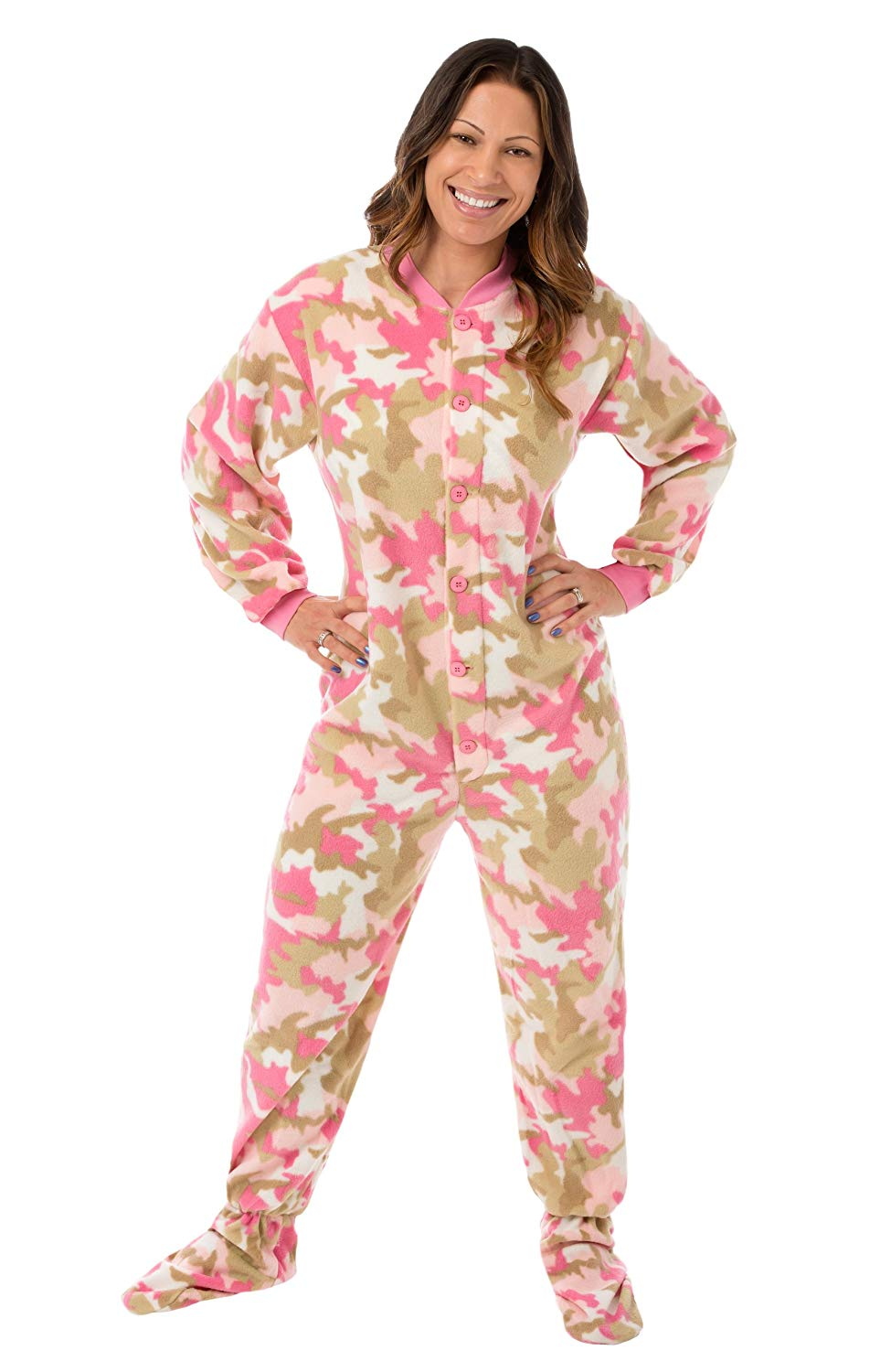 48fb923936 Get Quotations · Pink Camouflage Fleece Women s Footed Onesie Pajamas with Drop  Seat