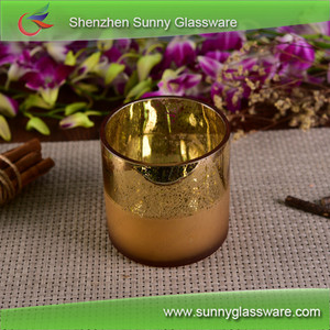 Wholesales Luxury Golden Empty Candle Glass Holder For 2 Wicks