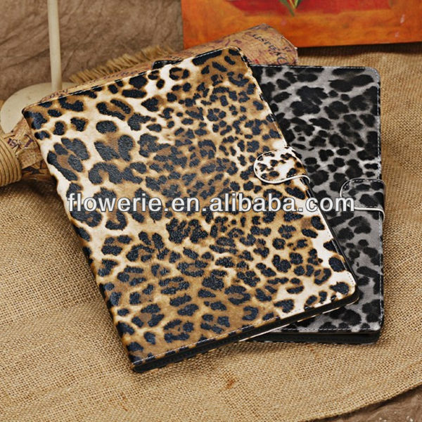 FL2701 2013 Guangzhou hot selling stand leopard wallet pu leather folio case cover for ipad air
