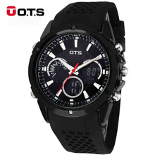 OTS Brand Men Sport Watches LED Digital Watch Men Quartz Watch Rubber Band Men Fashion Casual WristWatch