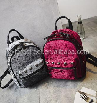 501afb0e8d Cute Velvet Mini Backpacks With Stud Girls Backpack School Bags ...