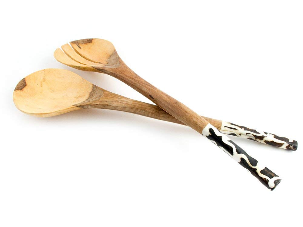 Buy Maisha Fair Trade African Wooden Salad Servers Set Ladle Cooking