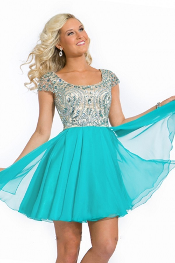 Discount 2014 Free Shipping Square With Short Sleeves Crystal Beaded Chiffon Short Homecoming Party Dresses N169