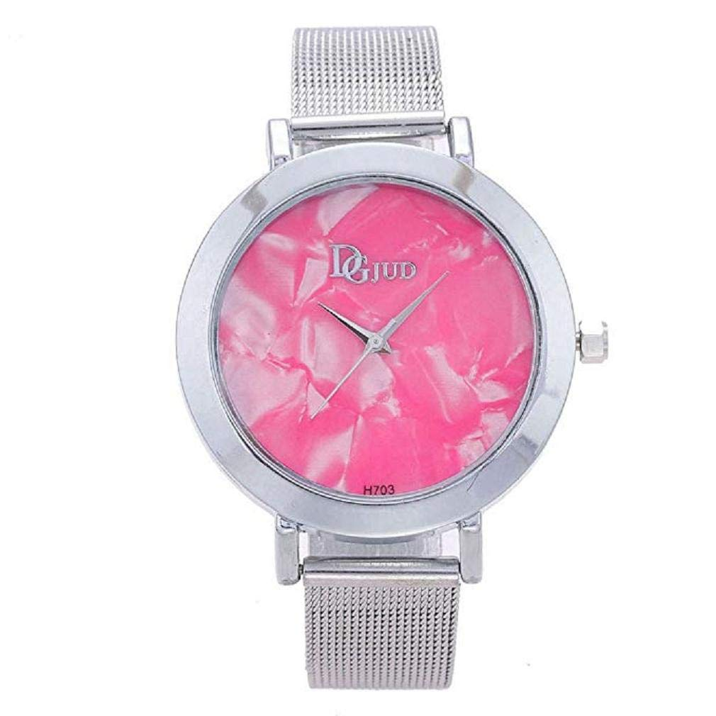 Womens Quartz Watches,Windoson Ladies Fashion Minimalist Casual Quartz Analog Alloy Wristwatch Round Dial Stainless Steel Mesh Band (Pink)
