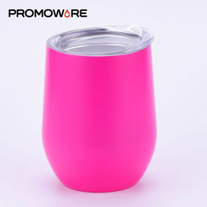 Wholesale 12 OZ Cheap Vacuum Insulated Tumbler Cup Custom Logo Double Wall Stainless Steel Wine Tumbler Cup with Lid Straw