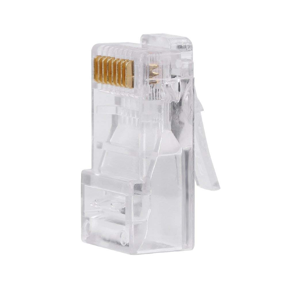 100Pcs RJ45 CAT5 8P8C Crimp Connector Ethernet Network Cable Modular Plug Gold Plated