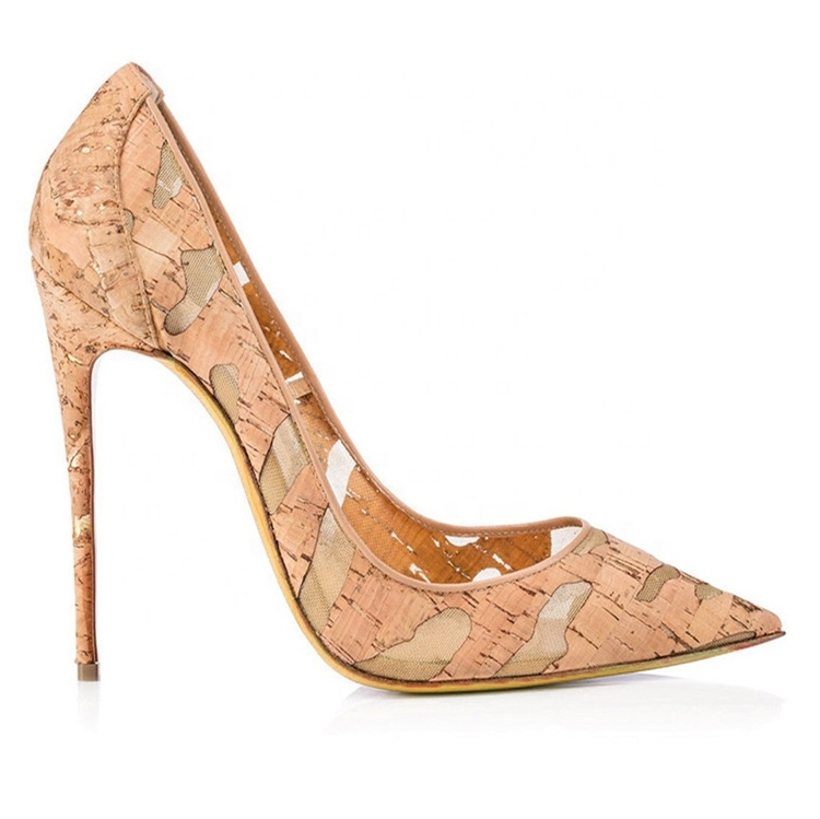 classic sexy wedding elegant ladies lace up ol wood grain nude thin pointed toe stiletto court shoes pumps cork high <strong>heels</strong>