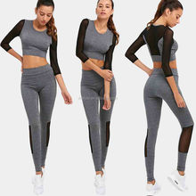 Cheap New Women Yoga Sets Fitness Sportswear Suits Long Sleeve Yoga Shirts Running Gym Mesh Patchwork Elastic Top Slim Pants