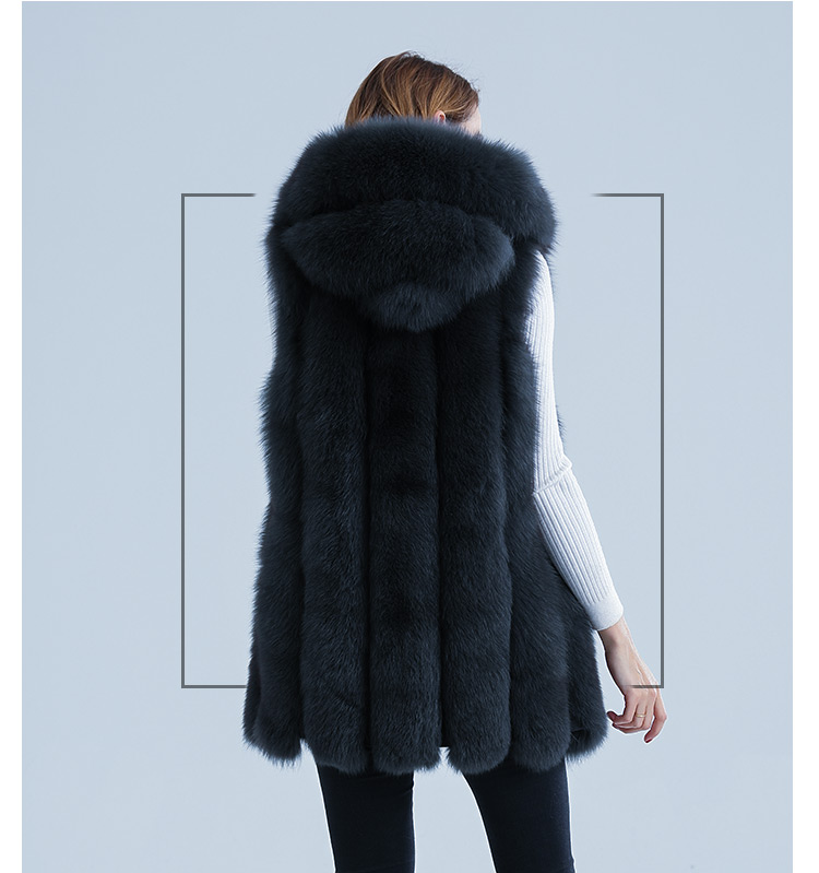 New fashion sleeveless outerwear lady winter hooded real fox fur gilet