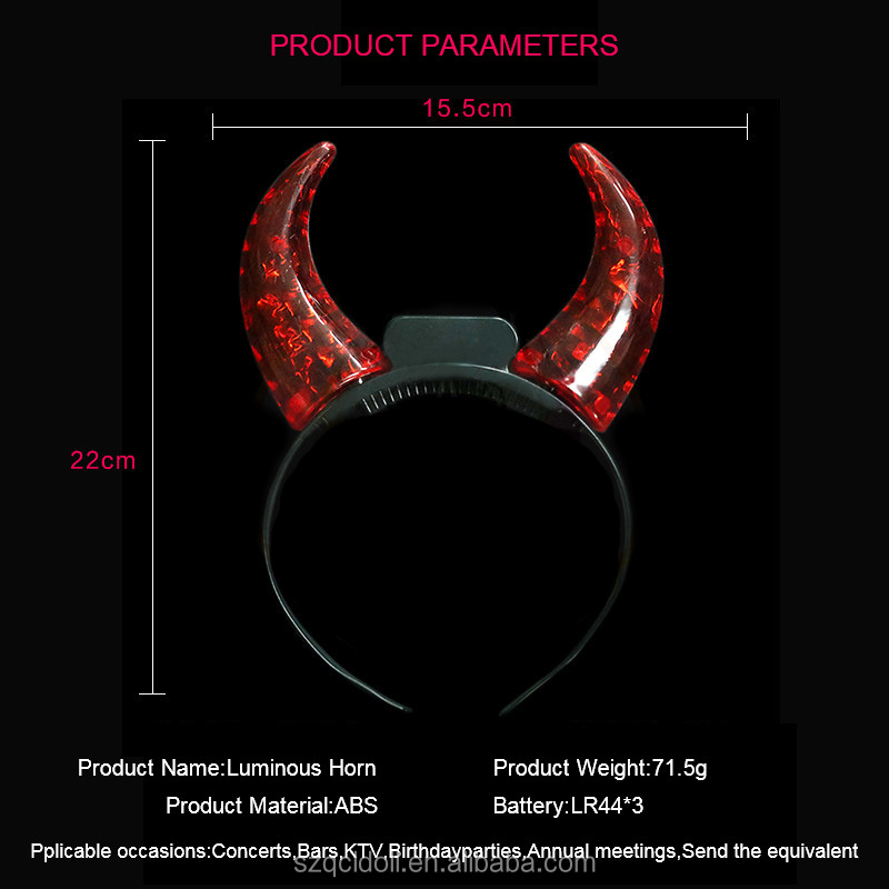 Ox Ears Headband Led Light Up Devil Horns Hair Band Accessories Halloween Ox Horn Led Party Headband