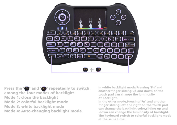 2019 New product H9 Mini QWERTY Keyboard Colorful Backlight 2.4G Fly mouse with best quality and low pri 2.4g wireless air mouse