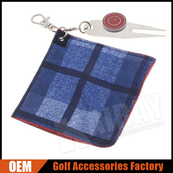 Custom Golf Ball Cleaner Towel With Divot Tools And Ball Marker