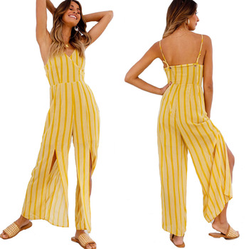 8e49793337a Summer Fashion One Piece Stripe Jumpsuit Women 2018 In Yellow Color ...