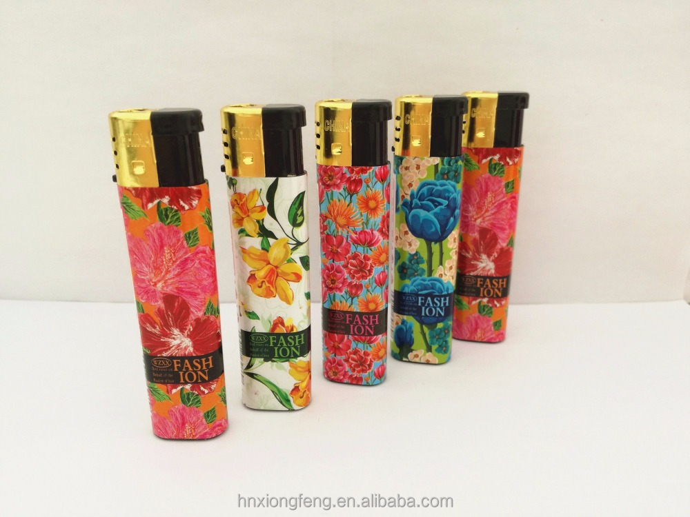 fashion colorful flowers cigar bbq kitchen use refillable electric plastic windproof gas lighter disposable
