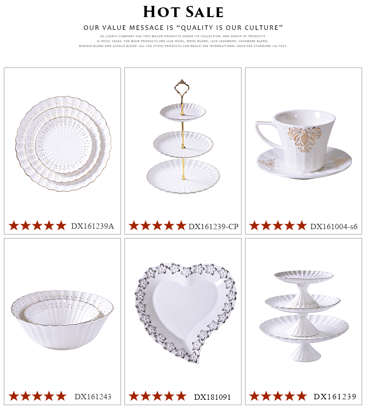Fashion and decorative three tier ceramic cake plate tray cupcake plate flatter set
