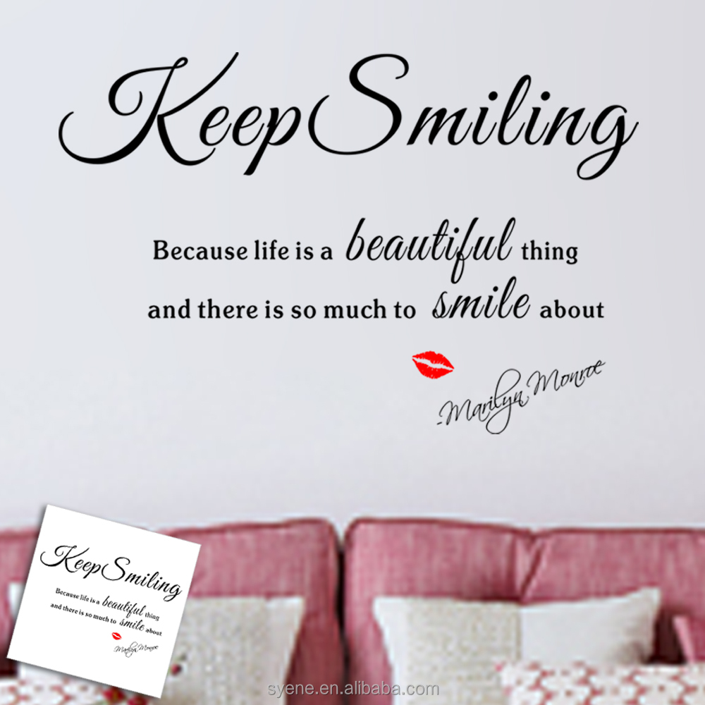 Hot Love Sticker Marilyn Monroe Wall Stickers Art Vinyl Quotes Keep Smiling  Because Life Is Beautiful Red Lip 3d Wallpaper Decal   Buy 3d Wallpaper  Stickers ...